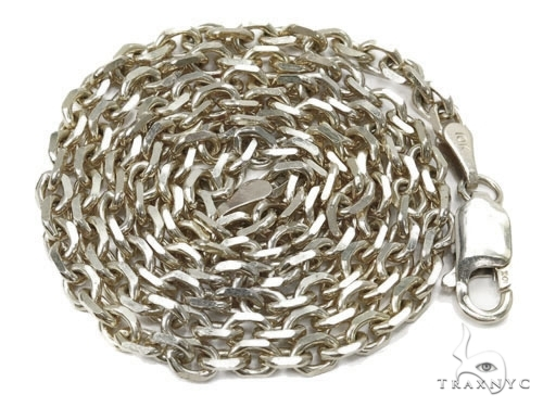 Mens 14k Solid White Gold Cable Chain 22 Inches 2.4mm 8.97 Grams 46916 Gold