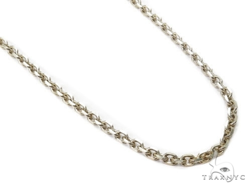Mens 14k Solid White Gold Cable Chain 22 Inches 2.6mm 13.20 Grams 46980 Gold