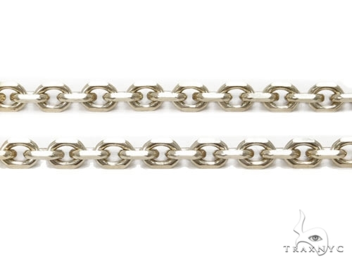 Mens 14k Solid White Gold Cable Chain 24 Inches 2.4mm 9.78 Grams 46918 Gold
