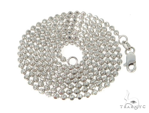 Mens 14k Solid White Gold Moon Cut Chain 20 Inches 2.5mm 10.42 Grams 48353 Gold