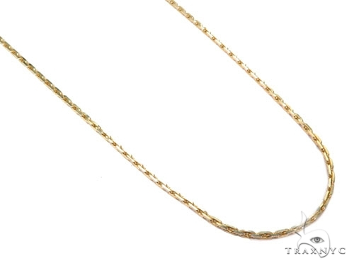 Mens 14k Solid Yellow Gold Boston Link Chain 20 Inches 0.6mm 1.50 Grams 46874 Gold