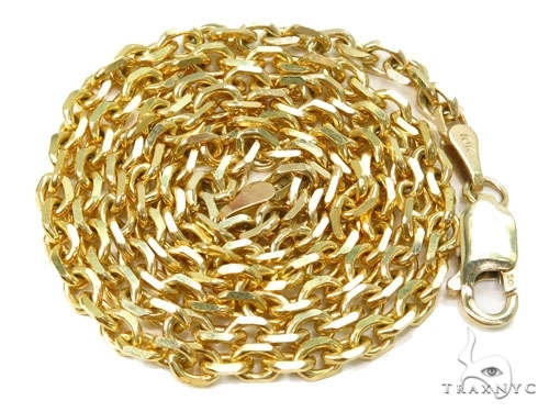 Mens 14k Solid Yellow Gold Cable Chain 26 Inches 2.1mm 9.58 Grams 46997 Gold