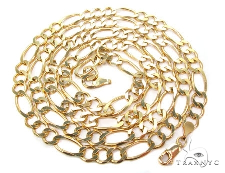 Mens 14k Solid Yellow Gold Figaro Chain 22 Inches 7.9mm 37.15 Grams 47370 Gold