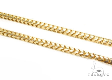 Mens 14k Solid Yellow Gold Franco Chain 24 Inches 3.2mm  47763 Gold