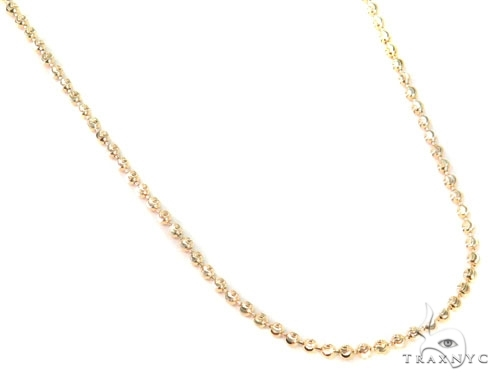 Mens 14k Solid Yellow Gold Moon Cut Chain 22 Inches 2mm 6.98 Grams 48482 Gold