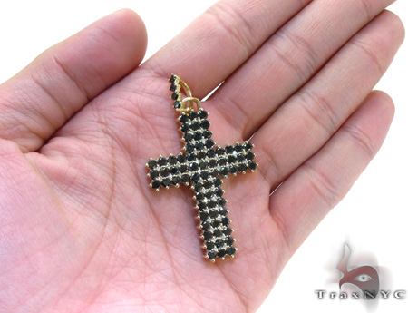 Mens Black Diamond Cross Crucifix 21881 Diamond