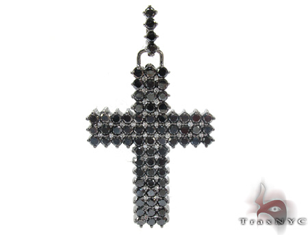 Mens Black Diamond Cross Crucifix 21882 Diamond