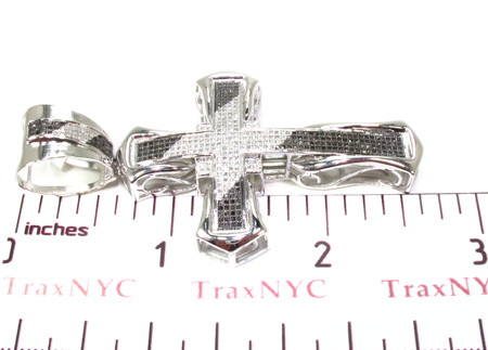 Mens Black and White Diamond Cross Crucifix 20472 Diamond