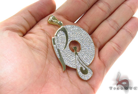 Mens Diamond Custom P Pendant Metal