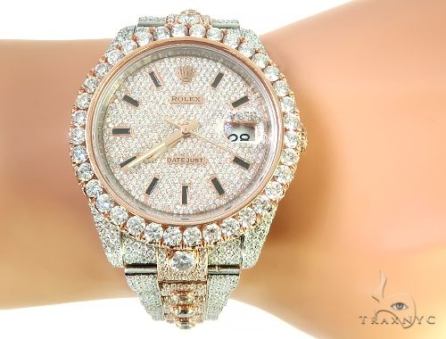 Two Tone Mens Diamond DateJust 40mm Rolex Watch 65809 Diamond Rolex Watch Collection