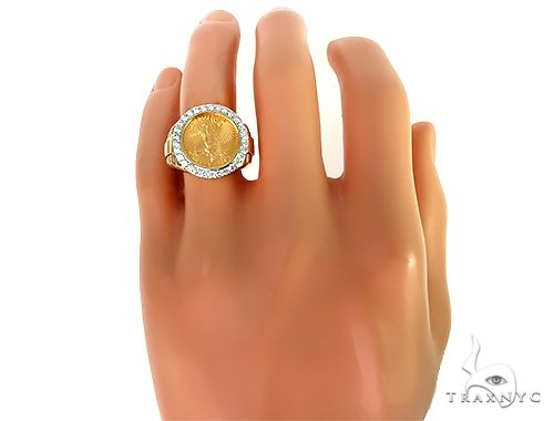 Mens Diamond Lady Liberty Coin Ring Stone