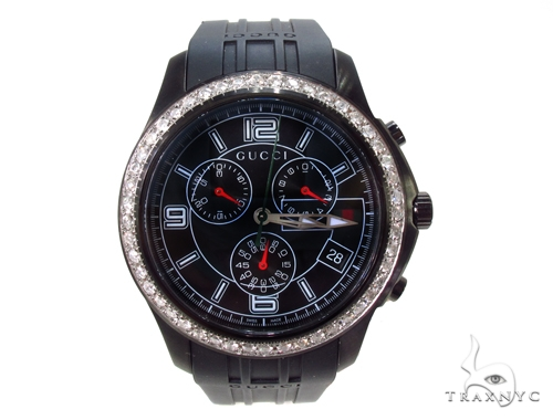 Mens Gucci Black Timeless Chrono Diamond Watch Gucci