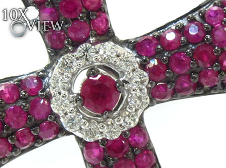 Ladies Prong Pink Ruby & Diamond Cross Crucifix Style