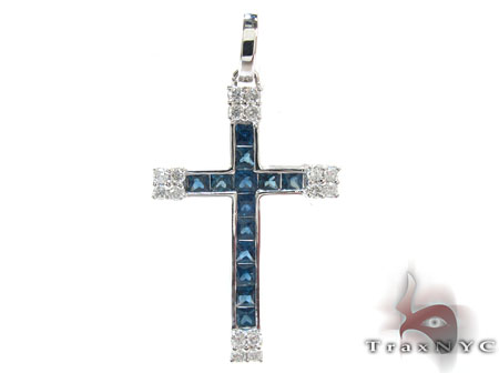 Unisex Gemstones Diamond Cross Diamond
