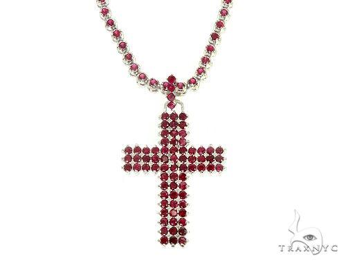 Mens Ruby Cross Set Diamond