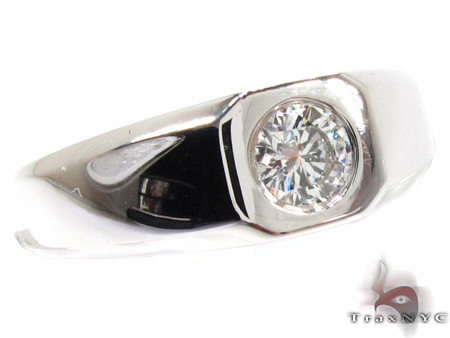 Mens White Gold Bezel Diamond Ring 20912 Style