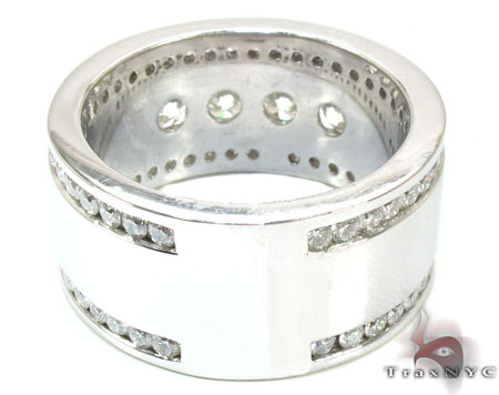 Mens White Gold Channel Diamond Ring 21011 Stone