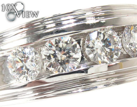 Mens White Gold Channel Diamond Ring 21041 Style