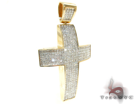 Mens Yellow Gold Diamond Cross Crucifix 21427 Diamond