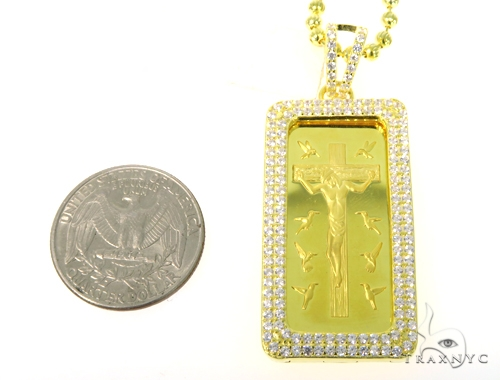 Silver Jesus Bar Pendant Set 48942 Metal