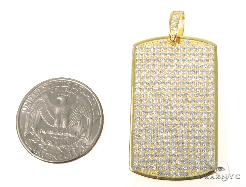 Silver CZ Dog Tag Pendant 48956 Metal