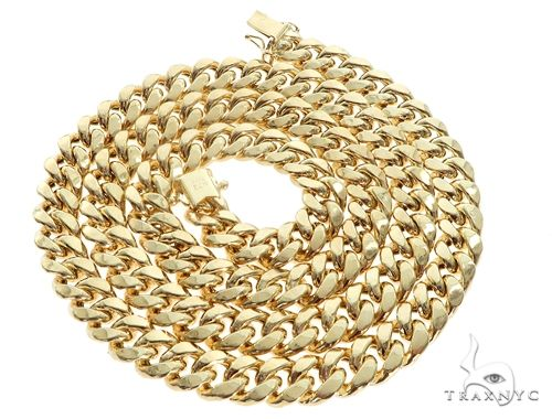 Miami Cuban Chain Hollow 14K Yellow Gold 22 Inches 7.5mm 65171 Gold