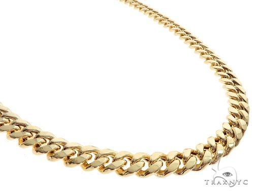 Miami Cuban Chain Hollow 14K Yellow Gold 28 Inches 9.5mm 65159 Gold