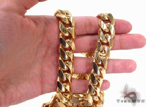 Miami Cuban Curb Link Chain 30 Inches 15.5mm 440.4 Grams 63736 Gold
