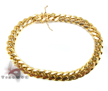 Miami Cuban Link Bracelet 7 Inches 12mm 64.7 Grams Gold