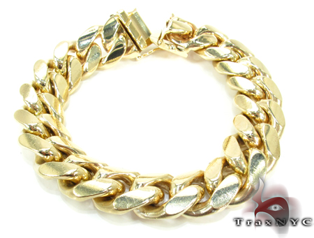 Miami Cuban Link Bracelet 7 Inches 14mm 88.1 Grams Gold