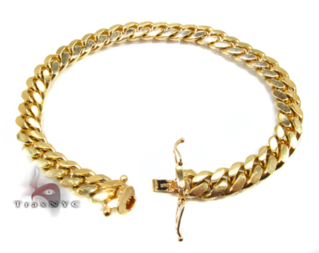 Miami Cuban Link Bracelet 8 Inches 7mm 32.4 Grams Gold