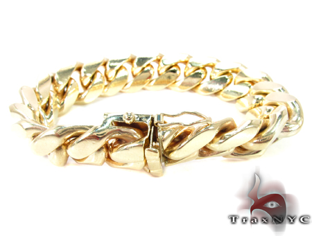 Miami Cuban Link Bracelet 9 Inches 14mm 130.4 Grams Gold
