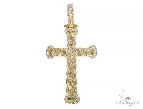 Miami Cuban Link Diamond Cross Crucifix 58595 Diamond