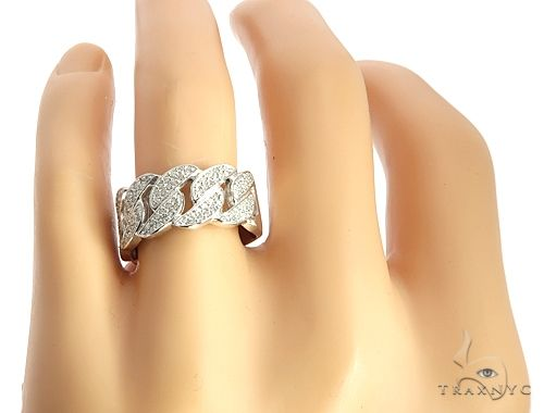 White Gold Miami Cuban Link Diamond Ring 65031 Stone