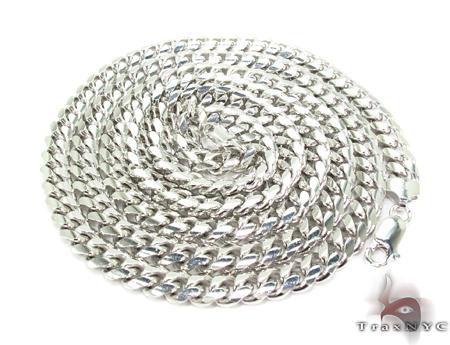 Miami White Silver Chain 30 Inches, 7mm, 104.1 Grams Silver