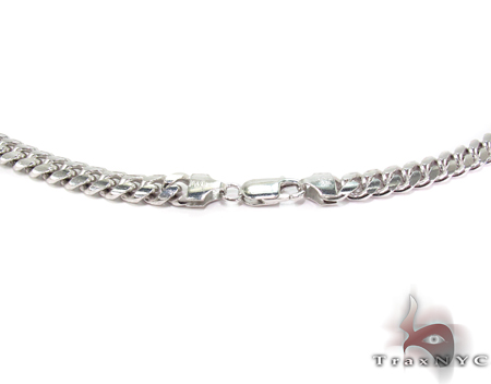 Miami White Silver Chain 36 Inches, 7mm, 102 Grams Silver