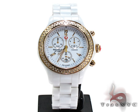 Michele White Ceramic Diamond Gold Watch MWW17B000007 Michele Diamond Watches