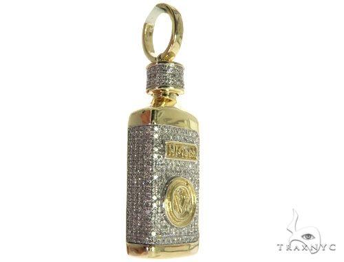10K Yellow Gold Micro Pave Diamond Small Liquor Bottle Charm Pendant Metal