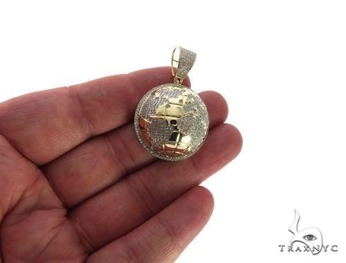 10K Yellow Gold Micro Pave Diamond Globe Charm Pendant and Chain Metal