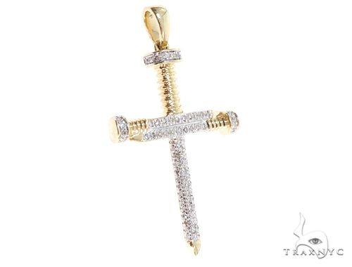 Micro Pave Diamond Nail Cross Pendant 64860 Metal