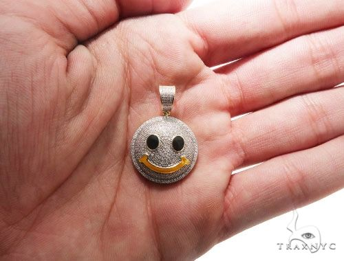 Micro Pave Diamond Small Smiley Face Pendant Stone