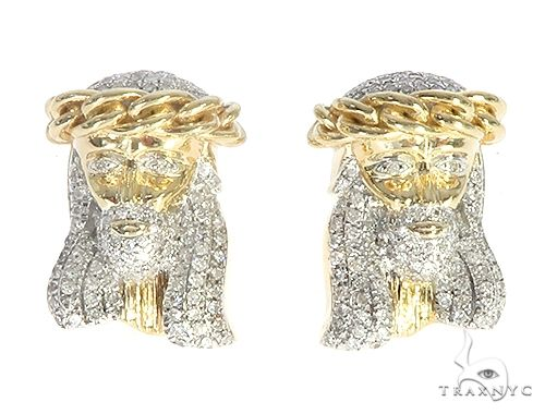 10K Yellow Gold Hip Hop Jesus Head Religious Micro Pave Earrings Hip Hop Earrings