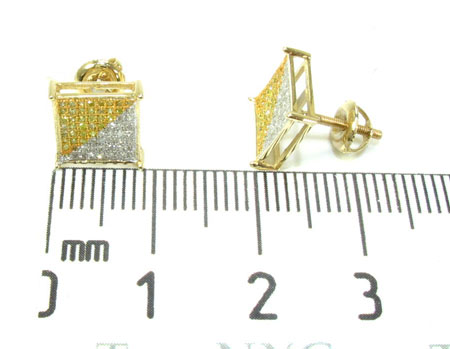 Yellow Gold Two Color Diamond Earrings 21013 Stone