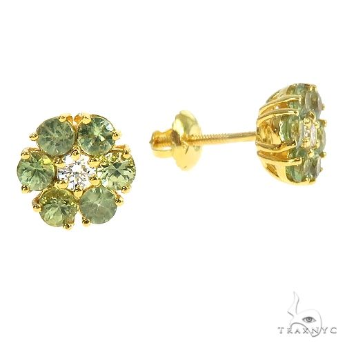 Mini Green Sapphire Diamond Flower Earrings 66897 Multicolor SAPPHIRE