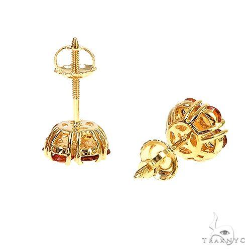 Mini Orange Sapphire Diamond Flower Earrings 66901 Style