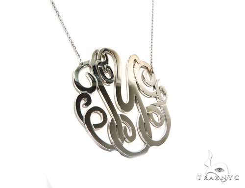 Monogram Sterling Silver Necklace-40021 Silver