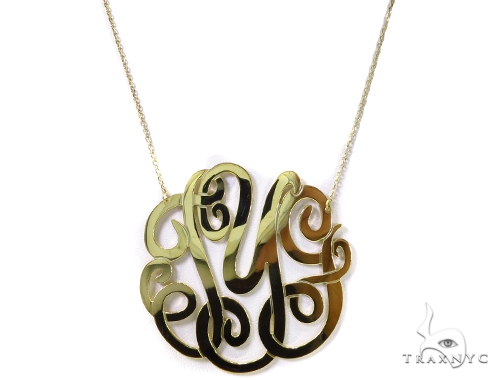 Monogram Sterling Silver Necklace-40022 Silver