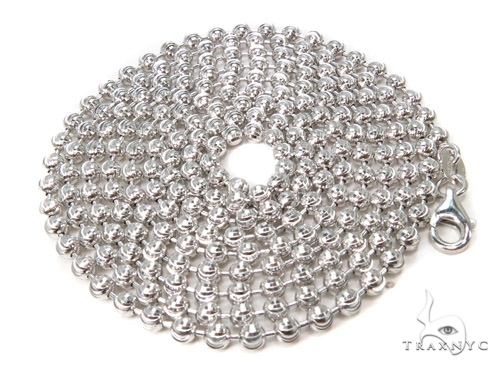 Moon Cut Silver Chain 36 Inches, 3mm, 18.1 Grams Silver