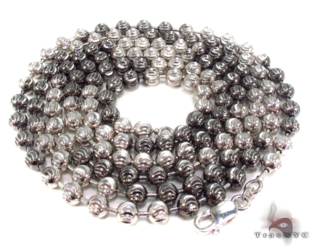 Partially Dipped in Black Rhodium Moon Cut n 40 Inches, 5mm, 53.4 Grams Silver