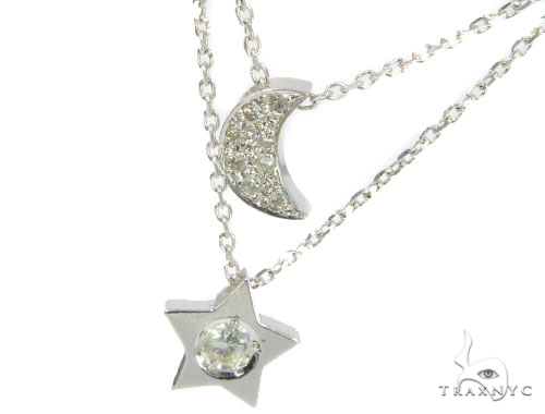 Moon and Star Diamond Earrings Necklace Set 45207 Stone